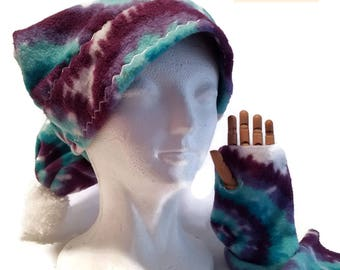 Winter Hat & Glove Combo, 8 Colors or Custom Request, Small, Medium, Large, Warm Fleece, Fingerless gloves, Pompom hat, Top Stitched