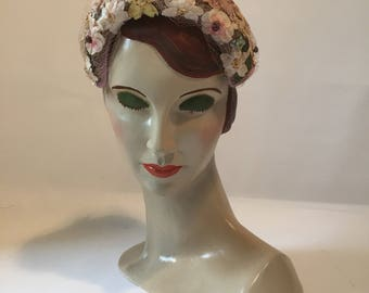 1950s vintage Reslaw London W1 floral clamper hat with veiling - wedding