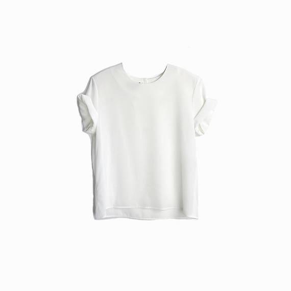 Vintage Semi-Sheer White Blouse / Short Sleeve White Top - women's small