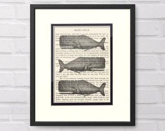 Whale Moby Dick Book Page Art Print - Nautical Gift and Decor - Whale Art - Moby Dick Gift Graduation Gift