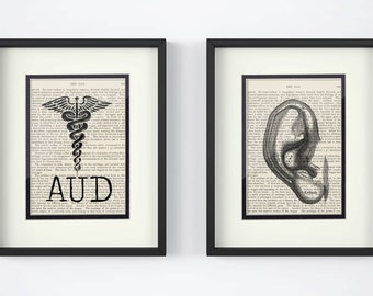 Audiology, Audiologist, - Set of 2 Prints AUD, Ear over Vintage Medical Book Pages - AUD Graduation, Hearing, Hearing Doctor, Gift for AUD