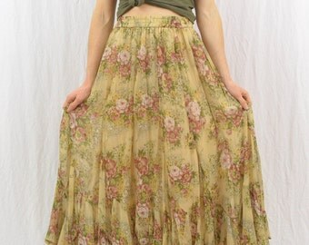 Vintage Floral Maxi Skirt, Size XS-Small, Fairy, Whimsical, Hippie, Boho, 90's Clothing, High Waisted, Spring Break