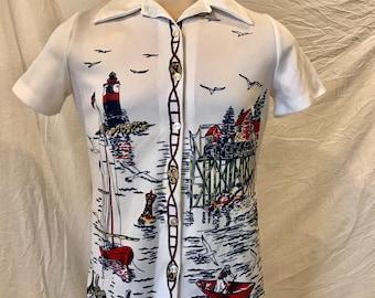 Vintage Men's Polyester Print Shirt Size 34