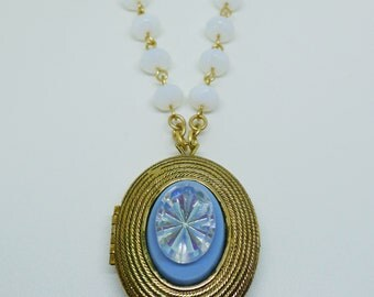Morning Glory // 1960s Vintage Locket Necklace w/ 1950s AB Crystal and Opal Beads on Gold Chain, Boheme Spring Vintage Bride Bridal Bohemian