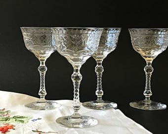 5 Stemmed Liquor Cocktail Glasses Crystal Cocktail Glasses Vintage Cut Crystal Stemware