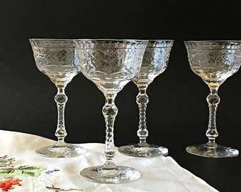 5 Stemmed Cocktail Glasses Crystal Cocktail Glasses Vintage Cut Crystal Stemware