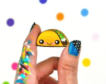happy taco pin / hand painted laser cut wood flair lapel badge with rubber back / food cute quirky