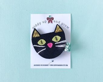 Halloween Black Cat Hair Bows, Glitter Clips for Fall, giddyupandgrow