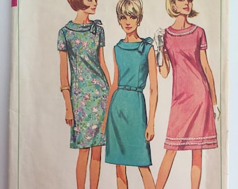 Simplicity 6509 - Size 14 Bust 34 - 1960s Shift Dress with Round Collar- Short Sleeve A-Line Dress - Belt Optional