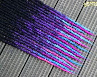 Sweet Dreams DE x10 Crochet Synthetic Dreads - triple transitional black blue purple pink
