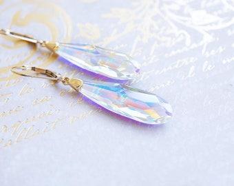 Earrings, Gold Earrings, Crystal Earrings, Long Earrings, Dangle Earrings, Drop Earrings, Swarovski Earrings, Bridal Earrings, Gift for Her