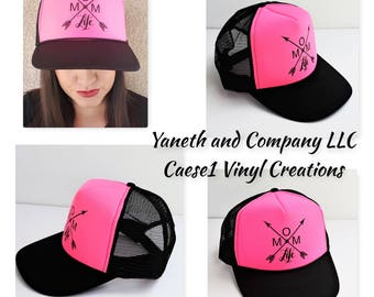 Mom Life Trucker Hat,Hot Pink and Black Mom Life trucker hat,Mom life Arrow design Trucker hat,Trucker hat,Mom trucker hat,Hot pink & black