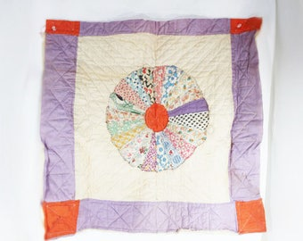 Quilt Squares, Vintage Purple and Orange Quilt Pieces w/batting in place, Craft Supply