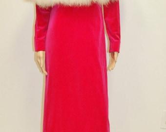 Vintage 1960's Mod Go Go Fuchsia Pink Velvet Maxi Dress Cape Angelair by Monika