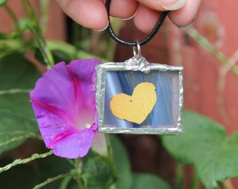 Flower pendant Heart rose petal soldered glass pendant