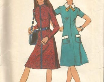 1970s Flared Skirt Dress Collar & Neckline Variations Princess Seams Simplicity 9659 Uncut FF Size 18 Bust 40 Women's Vintage Sewing Pattern