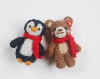 Needle Felt Bear and Penguin Magnets