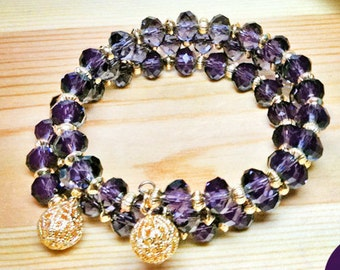 Wrap/Bangle Purple Velvet 8mm Crystal Rondels with Gold Filigree Ball Ends 3-Strand Stretch Bracelet One Size Fits All Easy On Easy Off