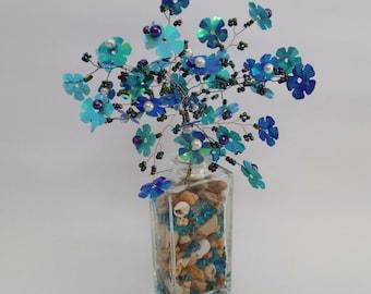 Blue  tree,beaded tree,blue flowers,pearls tree, bonsai tree, wire tree of life,miniature tree,tree sculpture, feng shui tree,