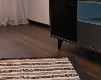Handwoven rug White Grey - Scandi design, Boho home, Eco
