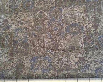 Dark Green, Blue Black Print  Vintage Cotton 1 1/3 Yards X0875 Quilt Apparel, Clothing