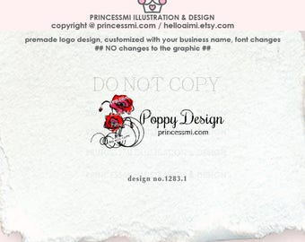 1283-1 poppies logo, custom poppy logo, Premade Logo Design, sketch, hand draw poppy poppies logo floral business logo, fashion shop