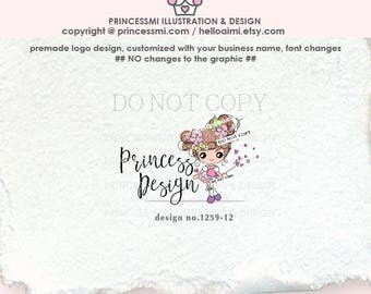 1259-12 girl logo, doll logo , girl fashion business logo , accessories, jewelry, kids business, boutique , children , character logo