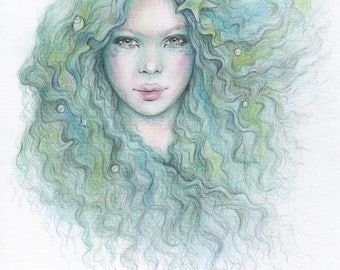 ORIGINAL Mermaid Art Drawing 8x10 inch From The Sea Dreamy Pastel Green Colour Pencil Drawing Starfish Pearls Shells