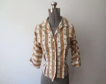 Vintage '50s Striped Cotton Blouse w/ Nipped Waist & 3/4 Length Sleeves! Med/Large, 38 Inch Bust