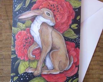 Poppy Hare Greeting Card