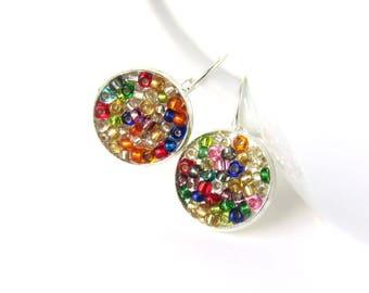 Bright earrings - colourful drop earrings - happy dangle earrings - hippie earrings - rainbow earrings