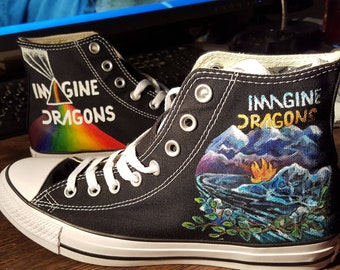 Imagine Dragons Hand Painted custom Converse sneakers  Fully realized and detailed Order this design or Convo me on realizing your vision