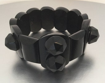 Victorian Whitby Jet Bracelet. Antique English Carved Jet Mourning Bracelet. Stretch Panel Bracelet. Genuine Whitby Jet Jewelry C1880