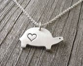 Turtle Necklace, Heart, Love, Silver Turtle Jewelry, Tortoise Necklace, Tortoise Pendant, Fine Silver, Sterling Silver Chain, Made To Order