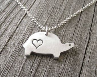 Turtle Necklace, Heart, Love, Silver Turtle Jewelry, Tortoise Necklace, Tortoise Pendant, Fine Silver, Sterling Silver Chain, Ready To Ship