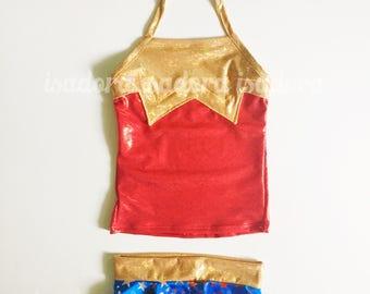 Girls Wonder Woman inspired swimsuit