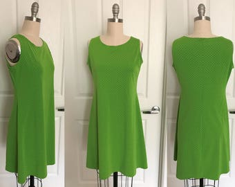 Lime Green Polka Dot Swing Dress //1980s Stretch Knit Sz. M L