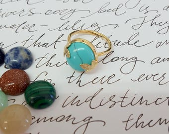 Dainty Gold Mothers Rings, Turquoise Gemstone Mother's Rings, Dainty Gold Ring for Mom, Mothers Jewelry, Mothers Ring, Gemstone Ring