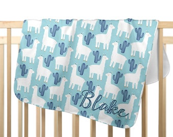 minky baby blanket with name, blue llama blanket, personalized baby gift