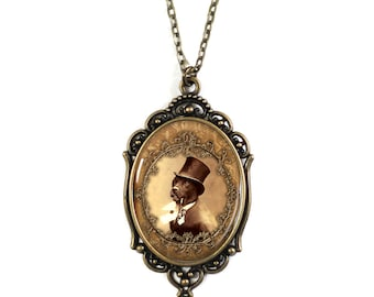 Steampunk Dog in Top Hat Brass 30x40mm Cameo Necklace