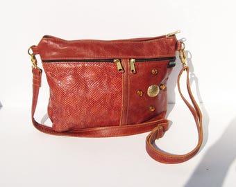 Rust Brown Embossed Genuine Leather Medium Purse