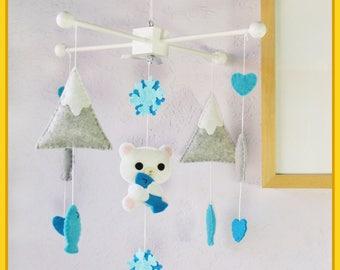 Polar Bear Mobile, Arctic Nursery Mobile, Sweet Polar Bear and Fish in Snowy and Mountains, Granite Gray Aqua Blue Peacock