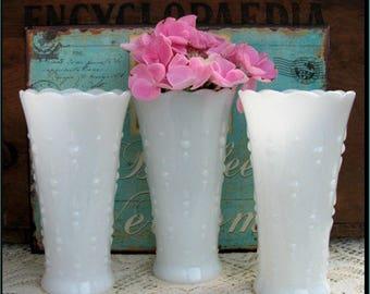 Vintage Milk Glass  Vases / Wedding Centerpieces / Milk Glass Hobnail Centerpieces / My Shabby Chic Wedding/ Teardrop Vases