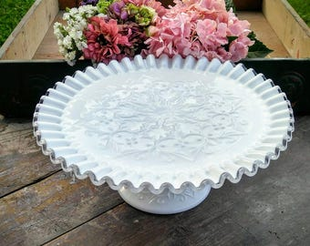 Fenton Milk Glass Cake Stand / Vintage Fenton Silver Crest Milk Glass Cake Stand / Wedding Cake Server / Spanish Lace by Fenton