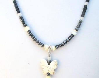 Stone Pendant Necklace Butterfly Gemstone Hematite Beads Fiber Optic Catseye Glass Metal Chain Black Ivory Silver Statement Jewelry 15-22in