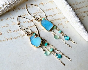 Aqua Druzy Earrings, Blue Green Druzy Dangle, Real Druzy Earrings, Gold Dipped Druzy, Koru Hoop Earrings
