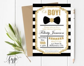 Boy Baby Shower Invitation, Boy Baby Shower Invite, Little Man Baby Shower, Bow Tie Baby Shower, Little Gentleman, Baby Boy, Black and Gold