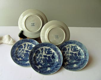 """Vintage Blue Willow Plates Saucers Blue Willow China Toy Dish Japan Child Dish Play Set Blue Plate 4 1/2"""" Doll Dishes Play House Kitchen"""