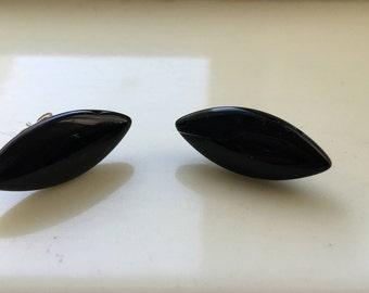 Black Diamond Shaped Glass Earrings