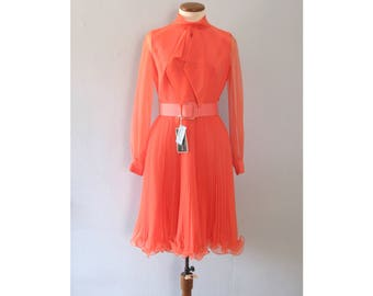 pink party dress - vintage 60s pastel orange Jack Bryan mid century mod chiffon pleated ruffle long sleeve retro party cocktail deadstock